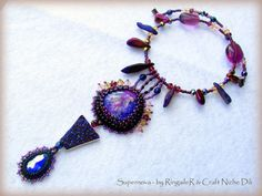 Original and unique hand made bead embroidered violet multicolor artisan statement necklace Supernova