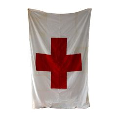 Large Vintage Red Cross Linen Flag