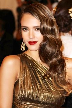 Jessica Alba Channeling Old Hollywood in Gold Lame Gown and Lana Turner Waves