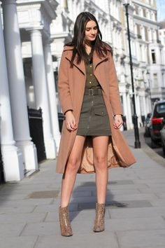 ankle boots asos boohoo boots camel coat fashion forever 21 khaki long coat rebel london shirt skirt snake print spring topshop