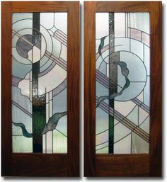 Glass Rainbows - stained glass doors frame with koa wood