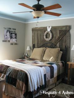 Saw this and thought of you... barn wood behind the headboard, and check out the wall pics!