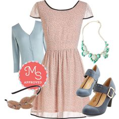 In this outfit: Thrill Me Up Buttercup Dress, Charter School Cardigan in Baby Blue, Here We Glow Again Necklace, Help Yourself Heel in Dusk, Fanciful Fronds Headband #pastel #cute #1950s #vintage #retro #ModCloth #ModStylist #fashion #outfits #ootd #spring #summer #dresses #shoes