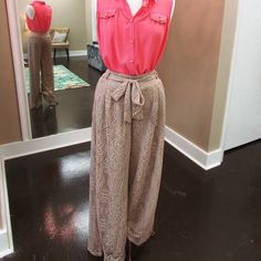 High Waisted Lace Pants Boutique High waisted lace loose fitting summer/beach type pants. Ties at the waist. Great condition. Hot & Delicious Pants Wide Leg