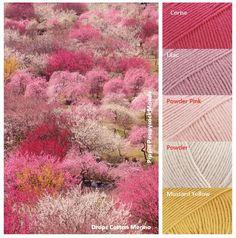 Plum Grove – Mood Board mood boards in Drops Cotton Merino - Crochet - Yarn Yarn Color Combinations, Colour Schemes, Palette Design, Colour Pallette, Color Balance, Design Seeds, Color Swatches, Yarn Colors, Color Theory