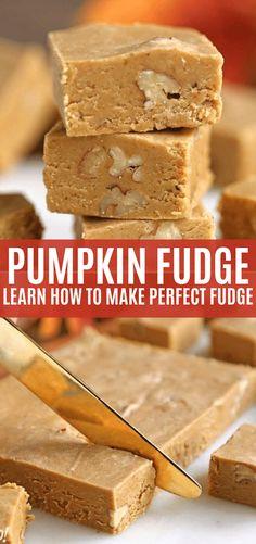 This rich and creamy pumpkin fudge is the perfect fall candy! Brown sugar, pumpkin puree, toasted pecans, and lots of fall spices give this fudge tons of flavor. Pumpkin Fudge Recipe Easy, No Fail Fudge Recipe, Pumpkin Puree Recipes, Fudge Recipes, Dessert Recipes, Baking Recipes, Candy Recipes, Baked Pumpkin, Sugar Pumpkin