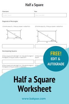 This free Half a Square Geometry worksheet with answers is fully customizable and autogradable with Bakpax! Better yet, students can complete it online or on paper. Check out more standards-aligned math assignments like this one at bakpax.com.