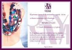 """Showroom en la boutique """"Marco Co"""" de Valencia, el jueves 8 de noviembre"""