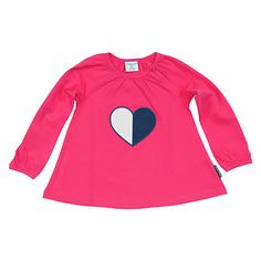 Buy Polarn O. Pyret Baby's Heart Motif Top, Pink Online at johnlewis.com