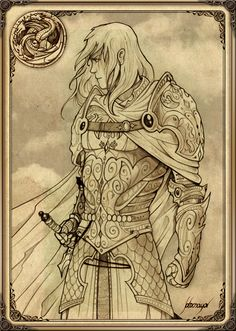 "Rhaegar Targaryen by Feliche. ""Many a night she had watched Prince Rhaegar in the hall, playing his silver-stringed harp with those long, elegant fingers of his. Had any man ever been so beautiful? He was more than a man, though. His blood was the blood of old Valyria, the blood of dragons and gods."""