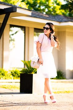 cute & little | petite fashion blog | pink seersucker ruffle sleeve top, white eyelet skirt, pom pom pink heel sandals, chloe drew dupe, rocksbox kendra scott alex earrings | summer outfit