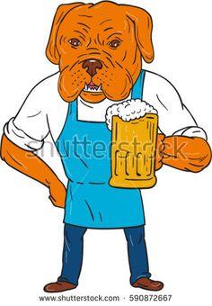 Illustration of Dogue de Bordeaux, Bordeaux Mastiff, French Mastiff or Bordeaux dog, a large French Mastiff breed one of ancient French dog breed brewer wearing apron holding beer mug cartoon style.   #frenchmastiff #sketch #illustration