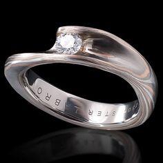 Mokume Gane engagement ring with diamond