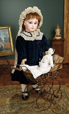 """""""For the Love of the Ladies"""" - October 1-2, 2016 in Phoenix, AZ: 110 English High Wheel Doll Carriage with German Taufling Baby"""