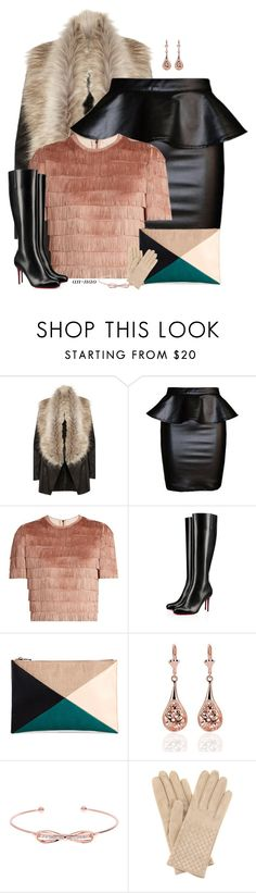 """""""Leather Winter."""" by an-nao ❤ liked on Polyvore featuring River Island, Raey, Christian Louboutin, Sole Society, Ted Baker and Bottega Veneta"""