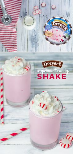 Dreyer's Peppermint Candy Cane Shake: If you could blend the holidays up and drink them all in, it would taste like this deliciously simple shake made with Dreyer's Peppermint Wonderland ice cream! Just blend the ice cream with milk until smooth, then top with whipped and crushed candy canes for a festive frozen treat!