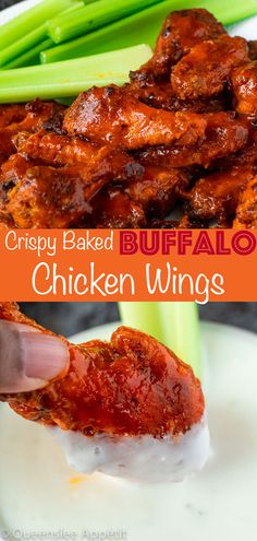 These spicy Buffalo Chicken Wings are seasoned with a blend of spices before being baked to an ultra crispy perfection then smothered in a Buffalo Sauce. Chicken Kabobs, Teriyaki Chicken, Chicken Wings, Chicken Breasts, Grilled Chicken, Asian Turkey Meatballs, Chicken Wing Recipes, Roasted Turkey, Recipe For Mom