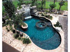 Pool in lanai Mediterranean House Plans, Mediterranean Design, Living Pool, Home Living, Backyard Paradise, Dream Pools, Cool Pools, Pool Houses, Pool Designs