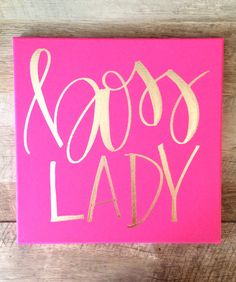 Boss lady hot pink and gold canvas home decor office by ADEprints