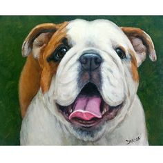 English Bulldog Dog Art 8x10 or 11x14 Print by DottieDracos, $12.00
