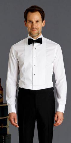 Custom Tuxedo Shirt in White Broadcloth with Pique Bib - Savoy Line   Black Lapel