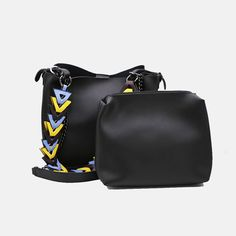 Ms.Little'S Bag Black Tote With Geometric Strap
