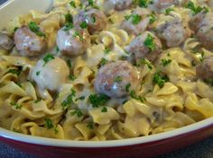 Cheating Swedish Meatballs from Food.com: 4 ingredient dinner! Throw it in a pot, cover & cook for about 30 minutes and serve! DELICIOUS, inexpensive and ohhhhh so easy!!! Can also be an appetizer without the egg noodles.