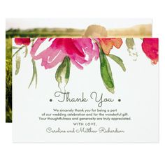 Romantic Watercolor Flower Painting Design personalized Wedding Thank You Photo Cards. Matching Wedding Invitations, Bridal Shower Invitations, Save the Date Cards, Wedding Postage Stamps, Bridesmaid To Be Request Cards, Thank You Cards and other Wedding Stationery and Wedding Gift Products available in the Floral Design Category of the Best Day Ever store at zazzle.com