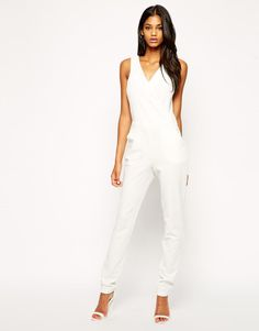 Wrap Front Jumpsuit In White