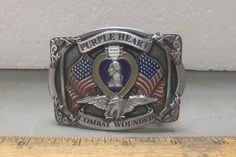 Purple Heart Combat Wounded - Cast Metal Belt Buckle