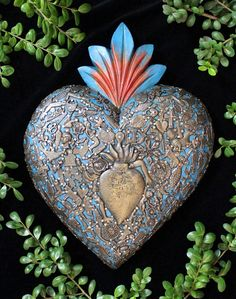 Large Blue Wood Heart with Milagros Miracle Ex Voto, Folk Art Michoacán Mexico