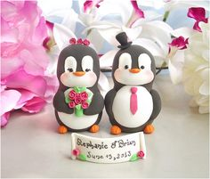 Unique Penguins wedding cake toppers - fuchsia pink by PassionArte, via Flickr