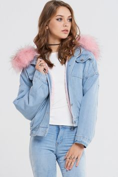 Aria Faux Fur Denim Jacket Discover the latest fashion trends online at storets.com