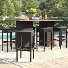Sol 72 Outdoor™ Rockport 5 Piece Dining Set with Cushions & Reviews | Wayfair Outdoor Stools, Outdoor Bar Stools, 24 Bar Stools, Outdoor Patio Bar Sets, Outdoor Furniture Sets, Outdoor Decor, Garden Furniture, Outdoor Living, Patio Rocking Chairs