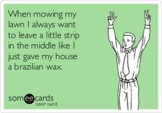 When mowing my lawn I always want to leave a little strip in the middle like I just gave my house a brazilian wax. Waxing Memes, Waxing Tips, Wax Studio, Brow Studio, Gigi Wax, Types Of Wax, Funny Confessions, Body Waxing, Free Hair
