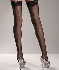 Black Back-Seam Thigh-High Stockings - Plus