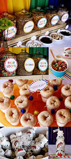 Rainbow Party Cereal Bar & Donut and Milk Shooters