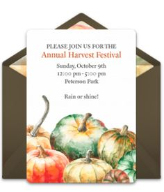 """Tons of free Thanksgiving invitation templates to choose from. We love this free """"Watercolor Pumpkin Patch"""" invite, perfect for inviting guests to a Thanksgiving meal or Friendsgiving."""