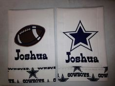 Dallas Cowboys burp cloth; hubby would love for towels in his bathroom!