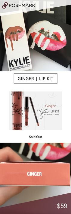 """Kylie Cosmetics """"GINGER"""" Lipkit authentic Kylie Cosmetics LIPKIT in the shade """"Ginger"""". this shade is part of her brand new summer collection and Kylie has said this is her favorite! includes one matte liquid lipstick and matching lip liner. kylie cosmetics describes this shade as a warm terracotta brown. brand new- never opened, never used, never swatched. ☺️ check out our other kylie cosmetics products! no trades, price firm. Kylie Cosmetics Makeup Lipstick"""