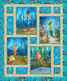 Nice idea for smaller panel pieces. Not into mermaids but I like this setting.Quilt patern for kids panel Quilt Baby, Baby Quilt Patterns, Quilting Patterns, Quilting Projects, Quilting Designs, Mermaid Quilt, Ocean Quilt, Fabric Panel Quilts, Attic Window Quilts