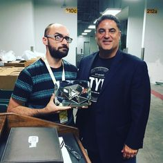 Michael Stevens of @vsauce showing off his new @youtube diamond play button to @cenkuygur