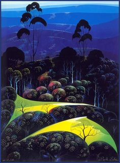 """Inland from the Sea"" by Eyvind Earle.  Completion Date: 1987.  Place of Creation: United States.  Style: Magic Realism."
