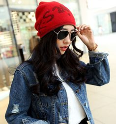 Korean fashion knit cap letter Autumn and winter hats cute simple style  female hat warm double d548a2b2504