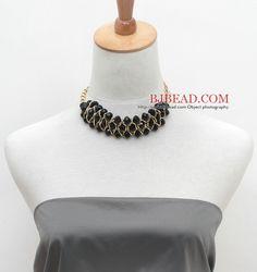 Fashion Design Negro Cristal Collar llamativo color amarillo con la cadena del metal