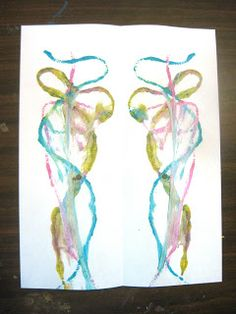 String painting ... coat the string with paint and sandwich between paper. Pull string out slowly.