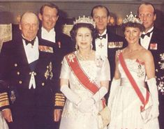 Elizabeth II with King Olav of Norway and the then Crown Prince and Crown Princess now King Harold and Queen Sonja