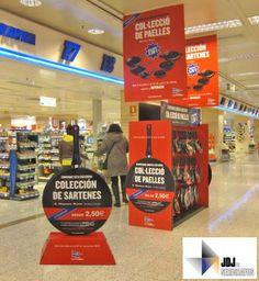 Campaña de múltiples elementos para promoción de sartenes. En la foto, mueble expositor dispensador + display totem + carteles aéreos - Enero 2012