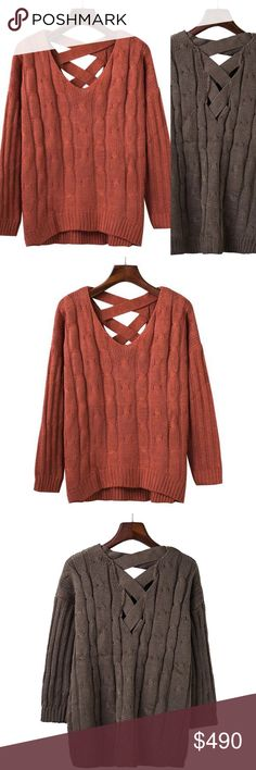 """Loose Criss Cross Cable Knit Sweater Brand new, loose cable knit sweater with criss cross detailing on the back in a red/orange mahogany color. Super soft and comfortable. I also have chocolate brown available.   One size fits most Bust 41.8"""" / Length 24.8""""   Bundle and save! 10% off the purchase of 2 items  15% off the purchase of 3+ items   ❓Questions? Please reach out and ask - I'm here to help  Sweaters Crew & Scoop Necks"""