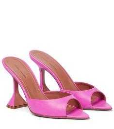 Amina Muaddi - Caroline leather sandals | Mytheresa Shoe Closet, Your Shoes, Leather Sandals, Luxury Fashion, Peep Toe, Pairs, Heels, Martini, Butter